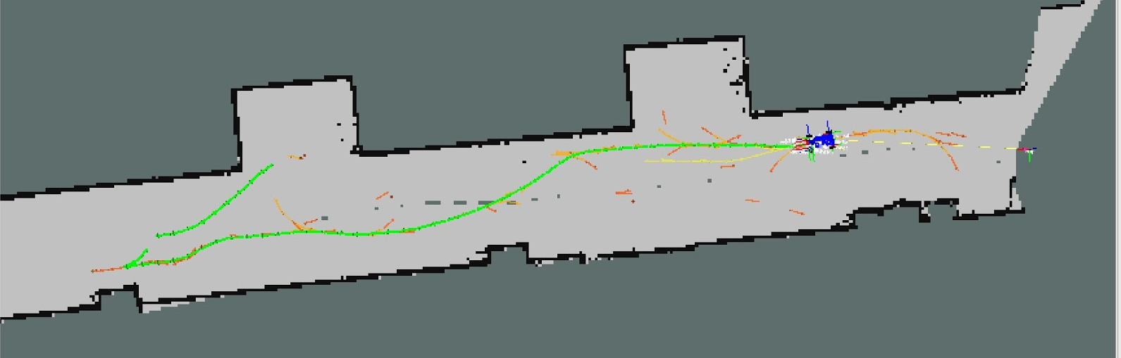 The robot following a RRT-generated path in simulation